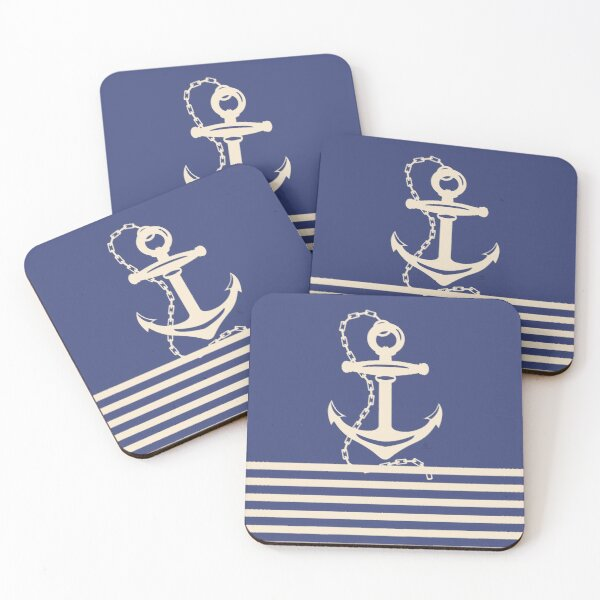 AFE Navy & Beige Anchor and Chain Coasters (Set of 4)
