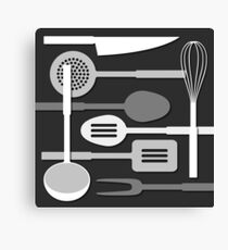 Kitchen Utensil Silhouettes Monochrome III Canvas Print
