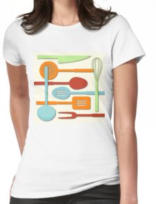 Kitchen Colored Utensil Silhouettes on Cream III Womens Fitted T-Shirt