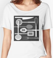 Kitchen Utensil Silhouettes Monochrome III Women's Relaxed Fit T-Shirt