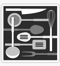Kitchen Utensil Silhouettes Monochrome III Sticker