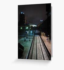 Warsaw modernist railway station by night Greeting Card