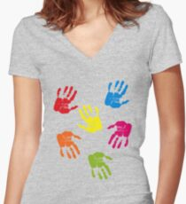 Colourful Hands Women's Fitted V-Neck T-Shirt