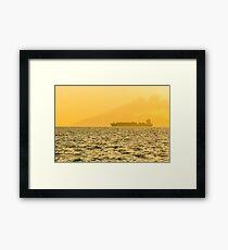 Ship sailing in ocean Framed Print