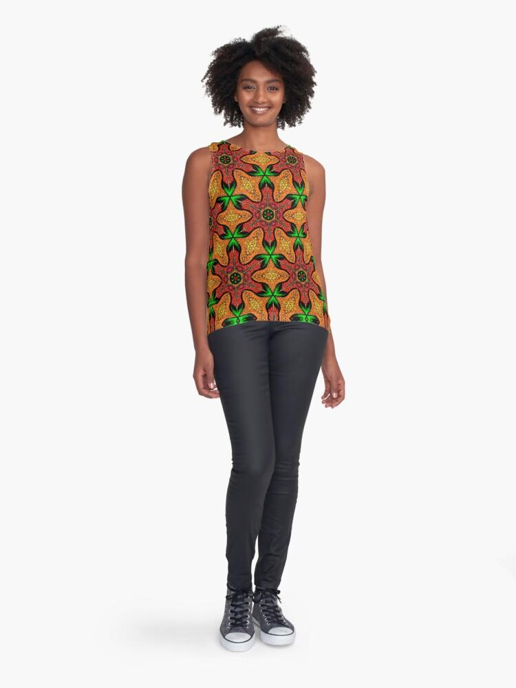 Alternate view of Ankara (red green mustard) African print fabric  Sleeveless Top
