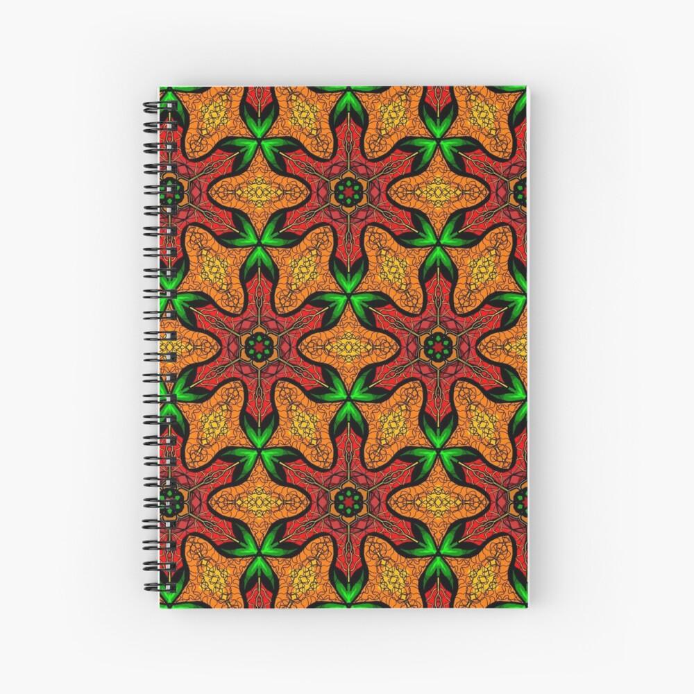 Ankara (red green mustard) African print fabric  Spiral Notebook