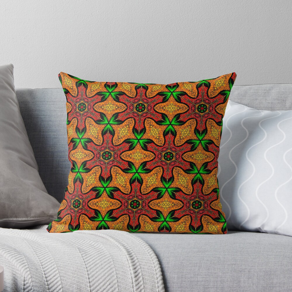 Ankara (red green mustard) African print fabric  Throw Pillow