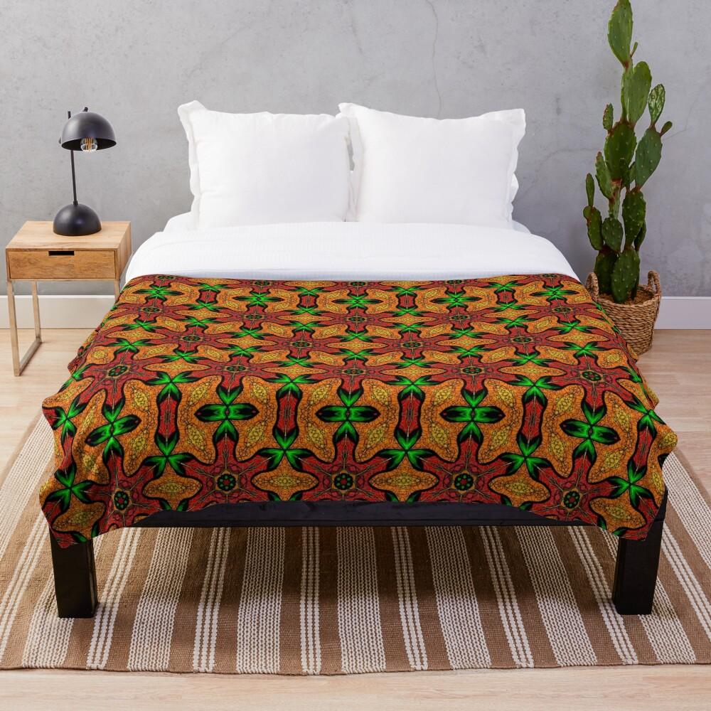 Ankara (red green mustard) African print fabric  Throw Blanket