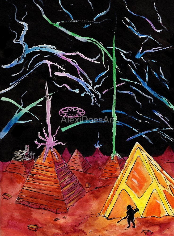 Land of Pyramids and Neon by AlexiDoesArt
