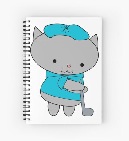 Golfer Cat Spiral Notebook