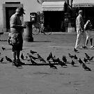 """City Life - """"Feeding Doves I"""" by Denis Molodkin"""