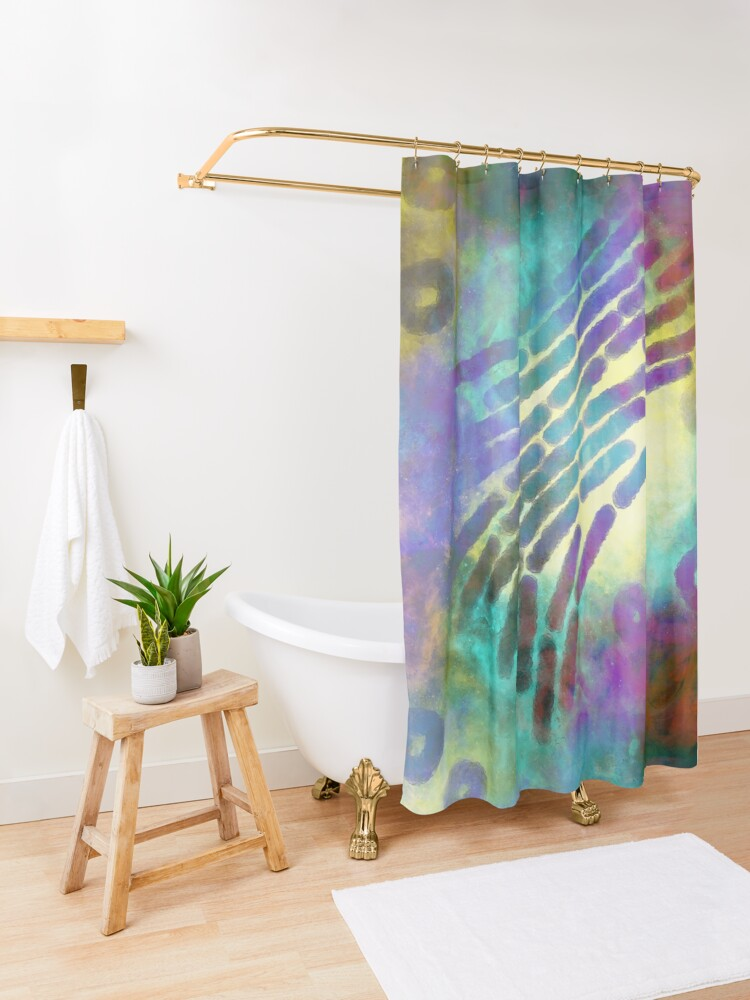 Alternate view of In the beginning there were microbes  Shower Curtain