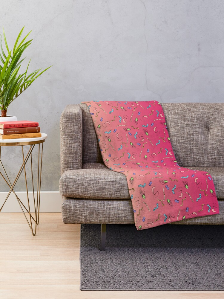 Alternate view of Sunset ombre bacteria Throw Blanket