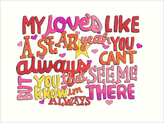 My Love's Like A Star Lyric Art by iamofirg