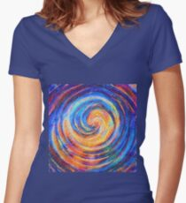 Abstraction of vortex wave Fitted V-Neck T-Shirt