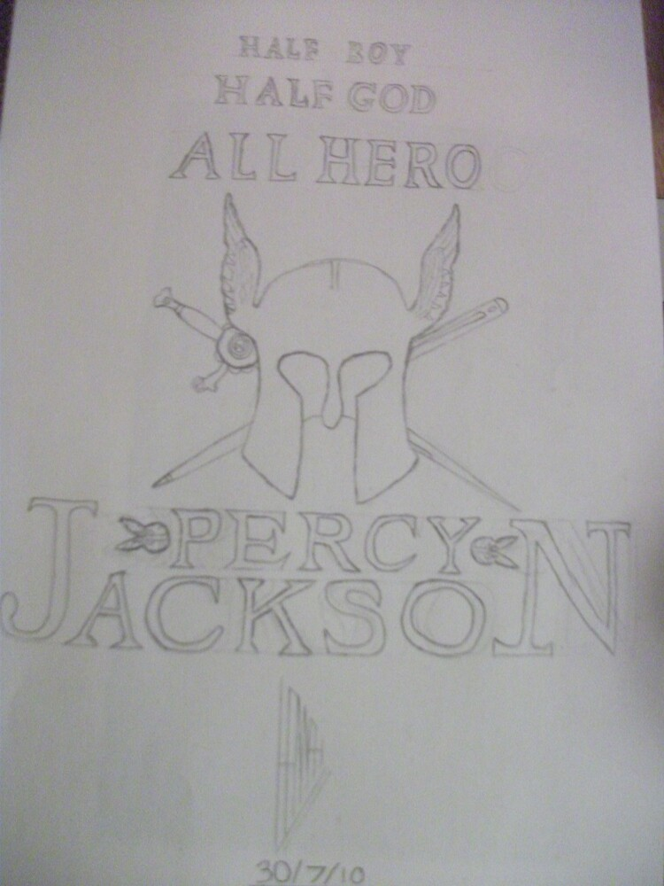 my drawing of the percy jackson book cover by lollapoppy