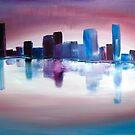 Abstract Brisbane Skyline Sunrise by Eliza Donovan