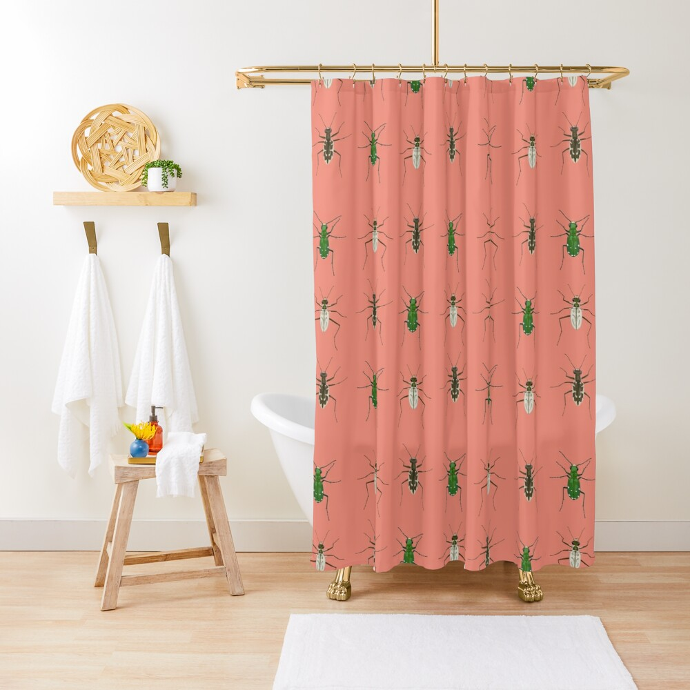 Tiger beetle trio Shower Curtain