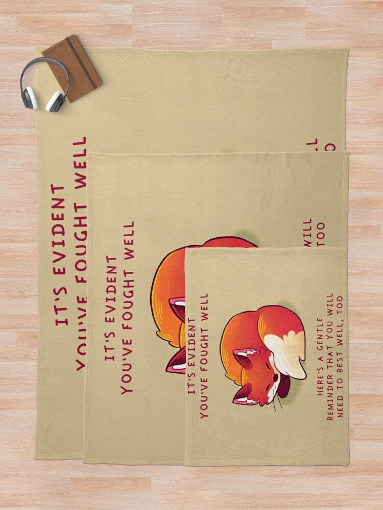 "Alternate view of ""It's Evident You've Fought Well"" Sleepy Fox Throw Blanket"