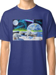Three Playful Polar Bear Cubs & Aurora Earth Day Art Classic T-Shirt