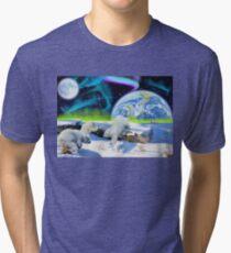 Three Playful Polar Bear Cubs & Aurora Earth Day Art Tri-blend T-Shirt