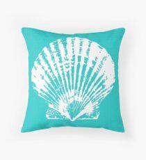 Aqua Blue with White Clam Shell Throw Pillow