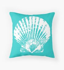 Aqua Blue with White Clam Shell Throw Pillow