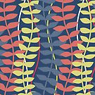 Sea grass pattern - navy, coral and pale yellow by ravynka
