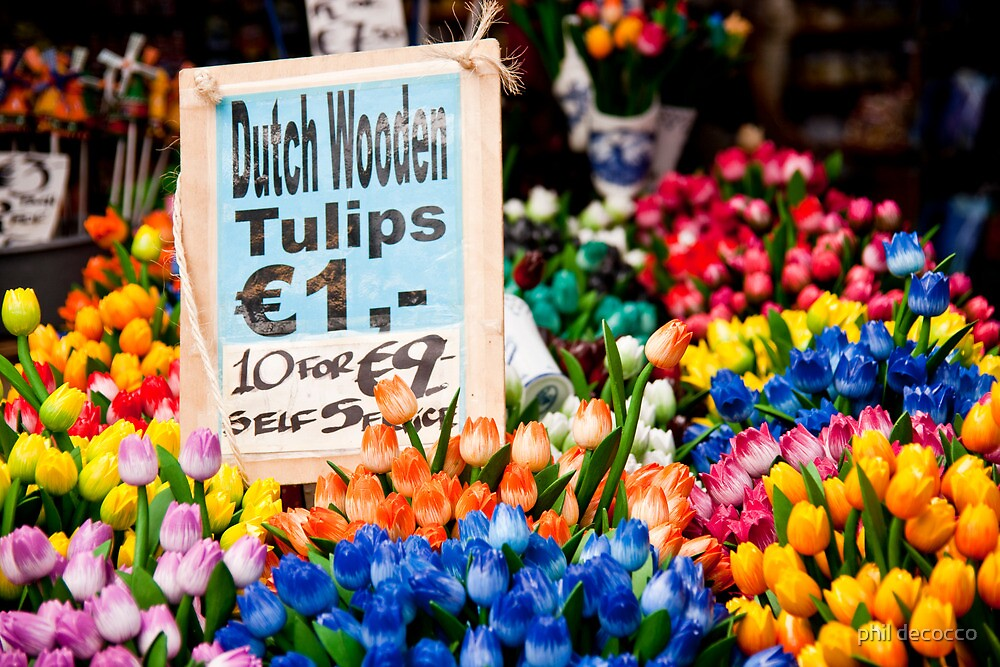 Dutch Wooden Tulips by phil decocco