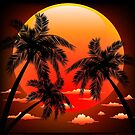 Warm Topical Sunset with Palm Trees by BluedarkArt