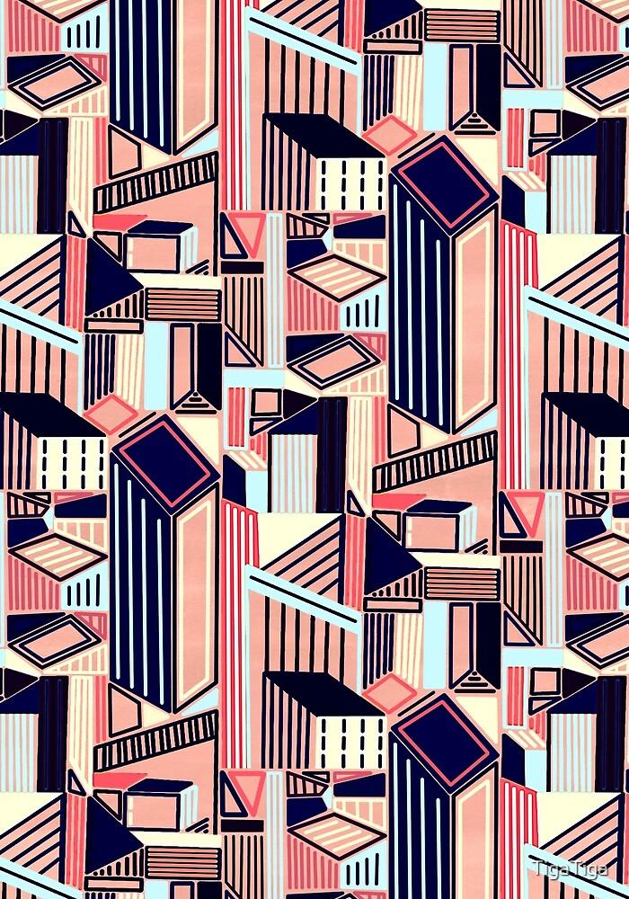 Abstract Minimalist City (Blush & Navy)  by TigaTiga