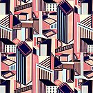 Abstract Minimalist City (Blush & Navy)  by TigaTiga