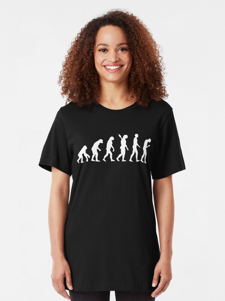 Alternate view of Evolution of the Smartphone Zombie / Smombie - White Graphic Slim Fit T-Shirt