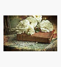 Antique white roses Photographic Print