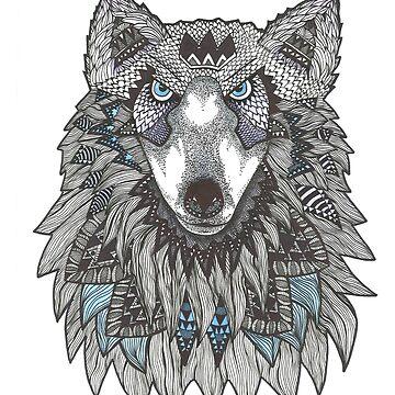Watercolor Totem Mandala Wolf by Ibubblesart