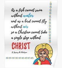 St. Gregory Theologian quote with Jesus Christ image Poster
