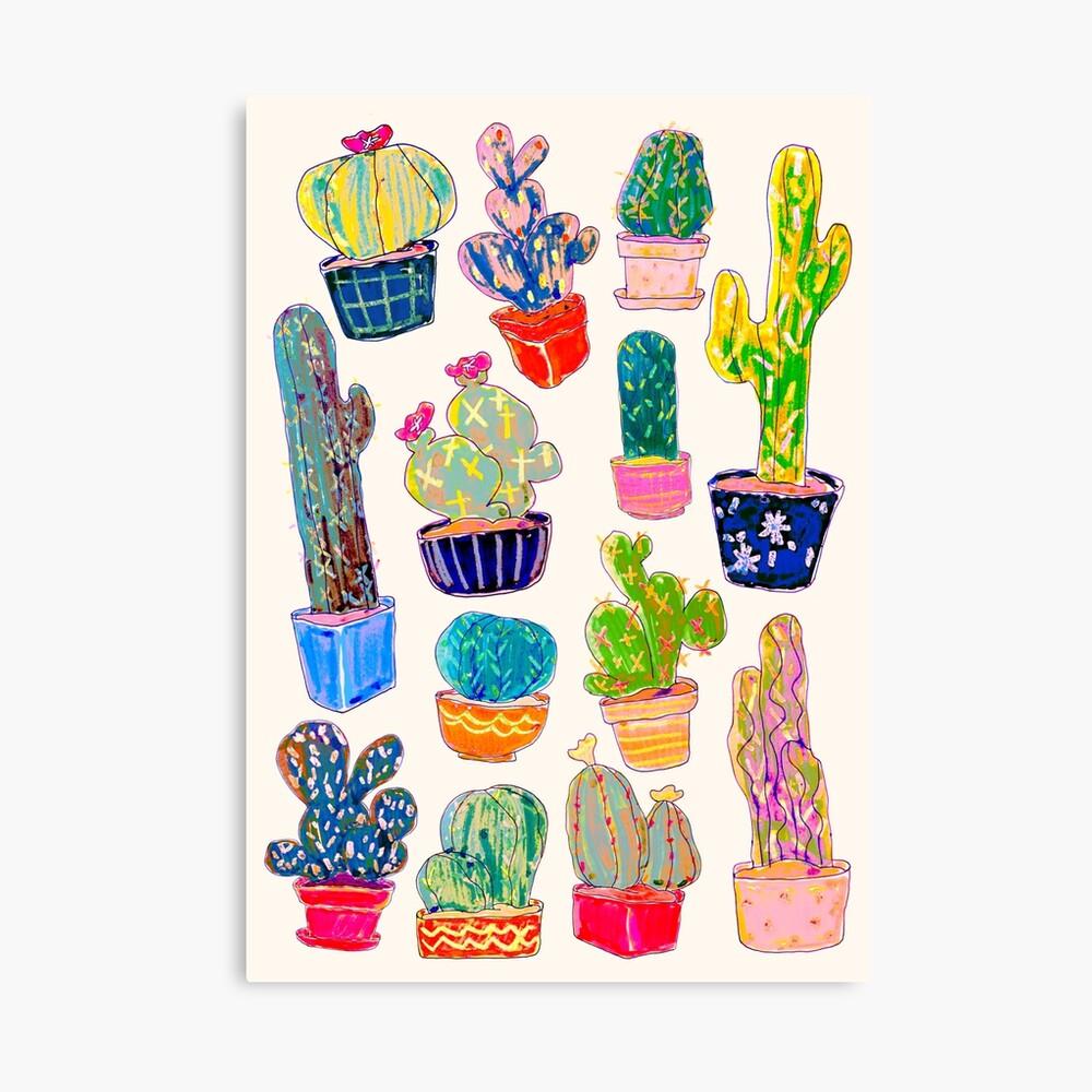 Crayon Cacti Canvas Print