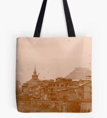 "Srinagar, on the shore of "" Blue "" Tote Bag"