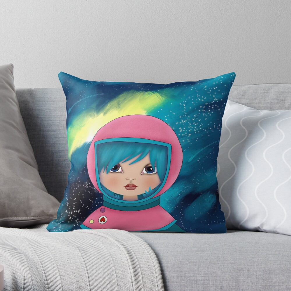 asteroidday - Space Girls Wear Pink Throw Pillow
