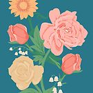 Pink + Yellow Florals on Teal by latheandquill