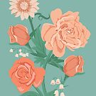 Pink Florals on Vintage Blue by latheandquill