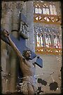 Jesus on the cross statue, interior, Beauvais cathedral, France by David Carton