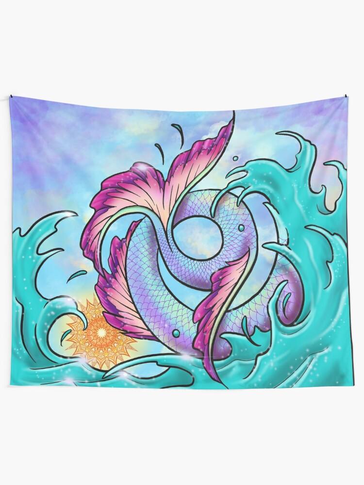 Alternate view of Mermaid Tail Sploosh Tapestry