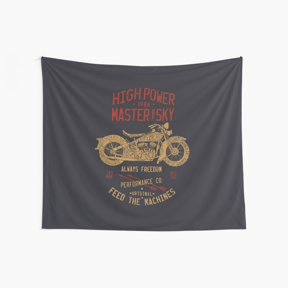 Brooklyn Motorcycle Illustration Label Wall Tapestry