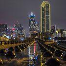 Golden Dallas Skyline in the Rain by josephhaubert