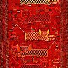 «GATOS Y ANIMALES AMARILLOS ROJOS ESTILIZADOS Antigua alfombra tribal persa» de BulganLumini