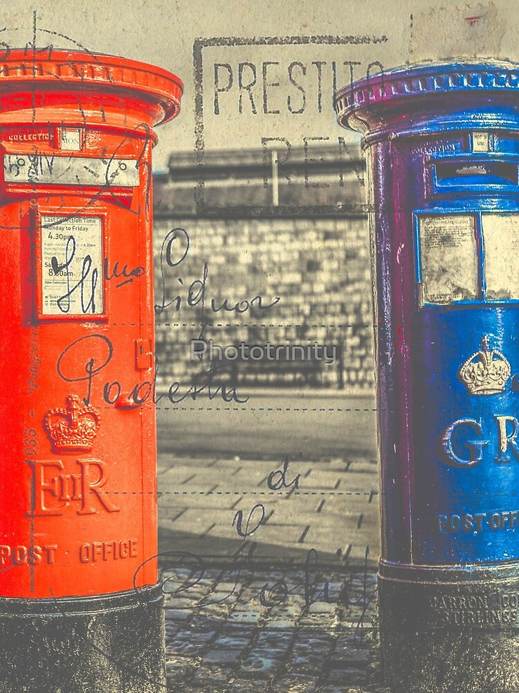 Vintage Style Postcard of British Post Boxes by Phototrinity