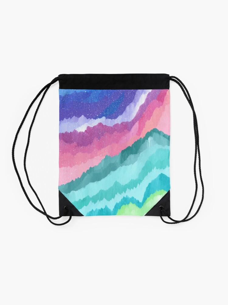 Alternate view of Acrylic Mountains #1 Drawstring Bag