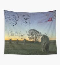 Vintage Style Postcard Avebury Ancient Stones Wall Tapestry