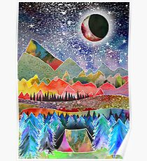 Camping under the moon Poster